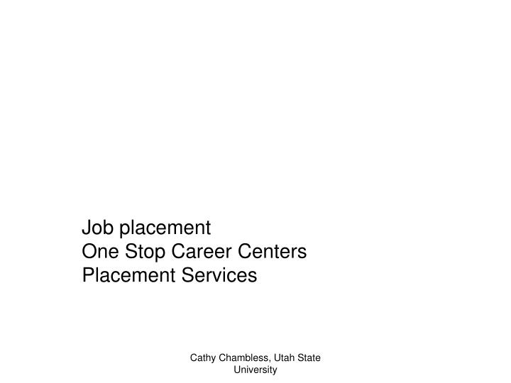 Job placement one stop career centers placement services