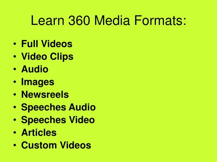 Learn 360 Media Formats: