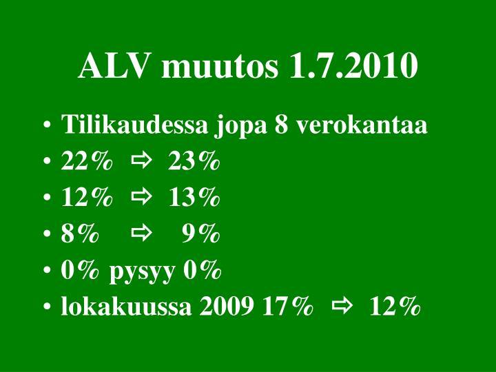 ALV muutos 1.7.2010
