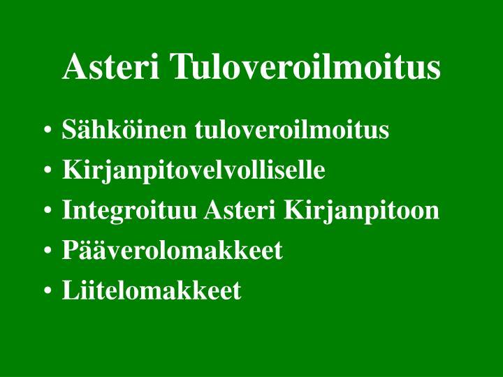 Asteri Tuloveroilmoitus