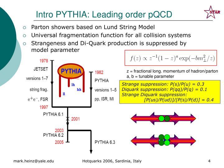 Intro PYTHIA: Leading order pQCD