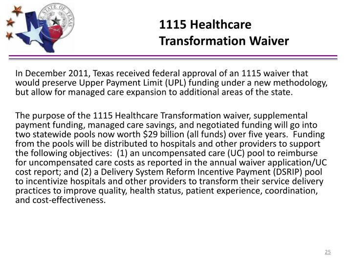 1115 Healthcare Transformation Waiver