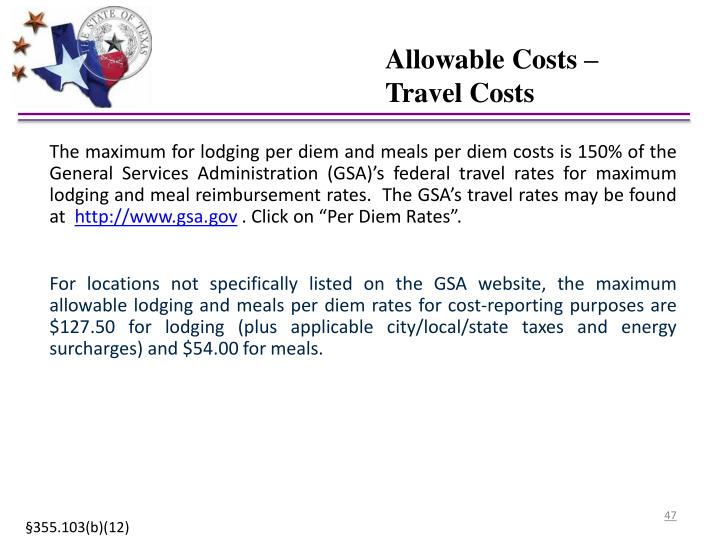 Allowable Costs – Travel Costs