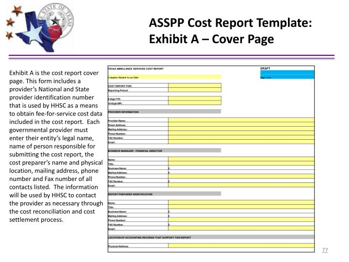 ASSPP Cost Report Template:
