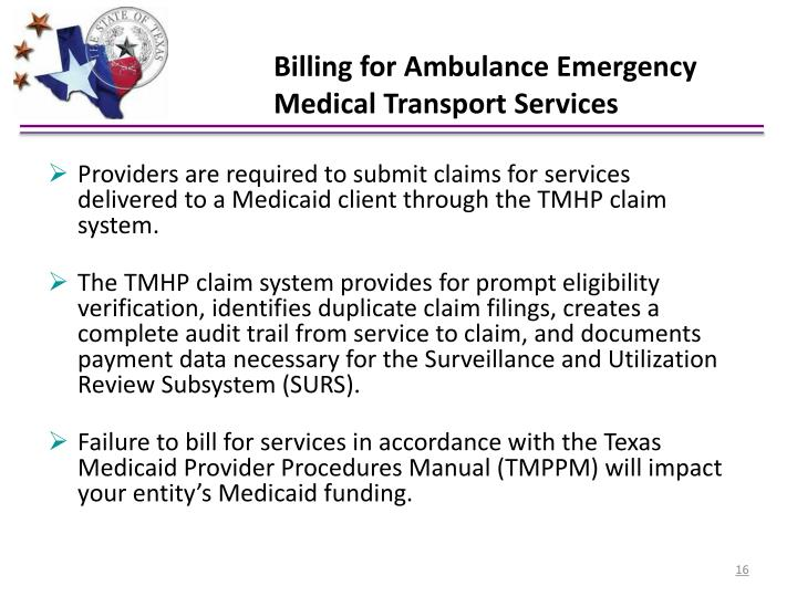 Billing for Ambulance Emergency Medical Transport Services
