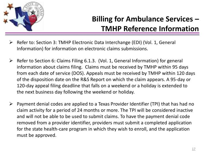 Billing for Ambulance Services –