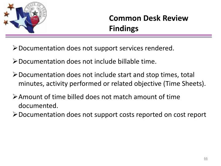 Common Desk Review Findings