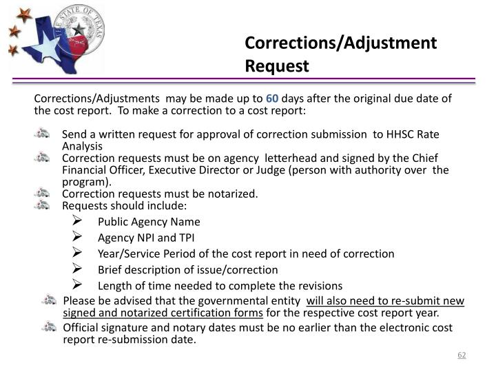 Corrections/Adjustment Request