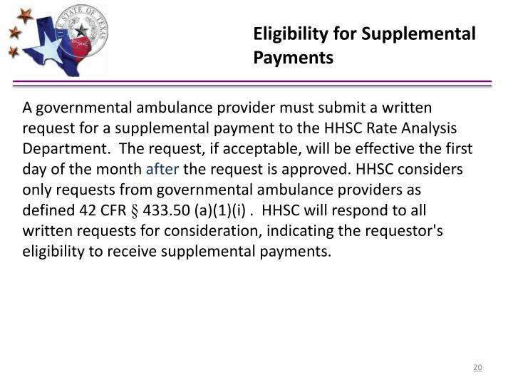 Eligibility for Supplemental Payments