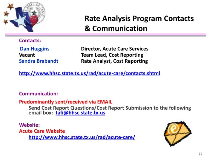Rate Analysis Program Contacts & Communication