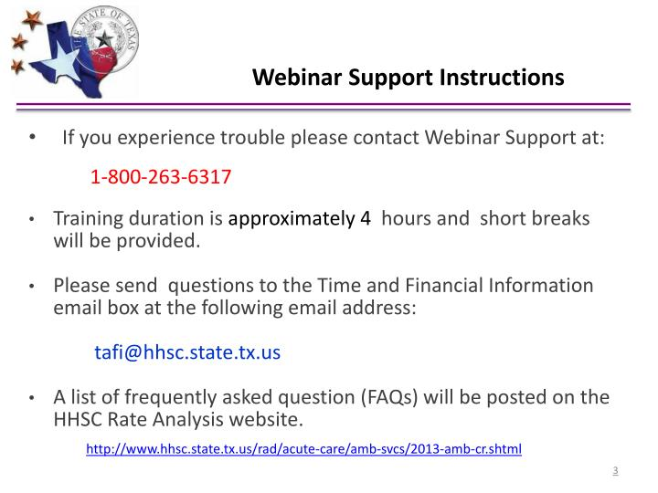 Webinar Support Instructions