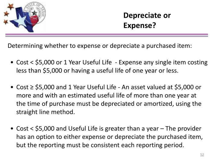 Depreciate or Expense?
