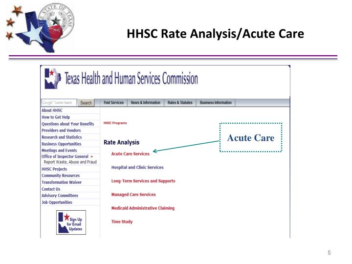 HHSC Rate Analysis/Acute Care