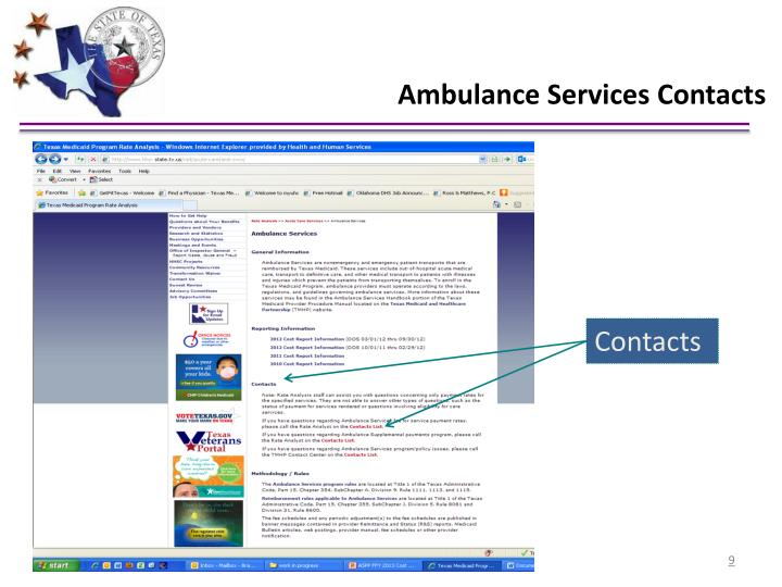 Ambulance Services Contacts