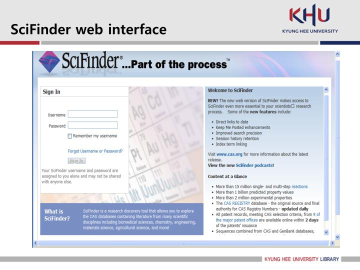 SciFinder web interface