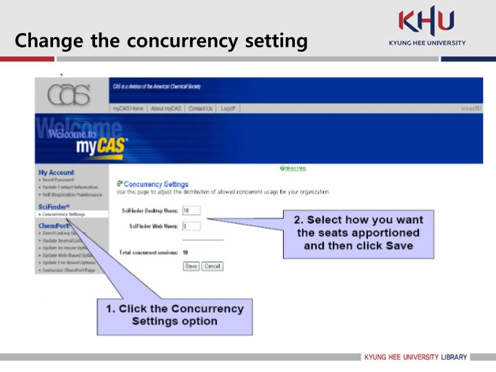 Change the concurrency setting