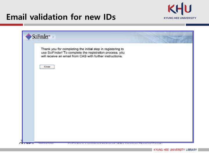 Email validation for new IDs