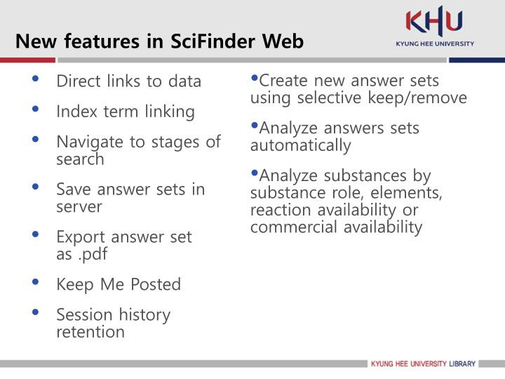 New features in SciFinder Web