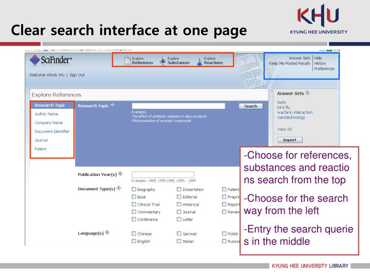 Clear search interface at one page