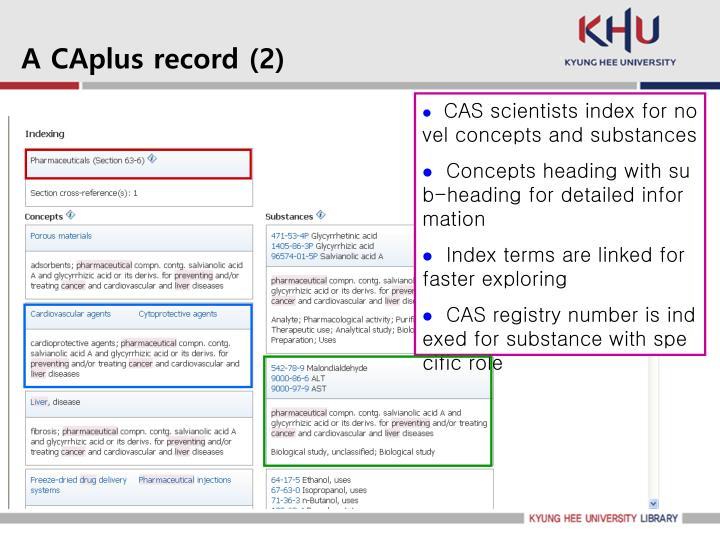 A CAplus record (2)