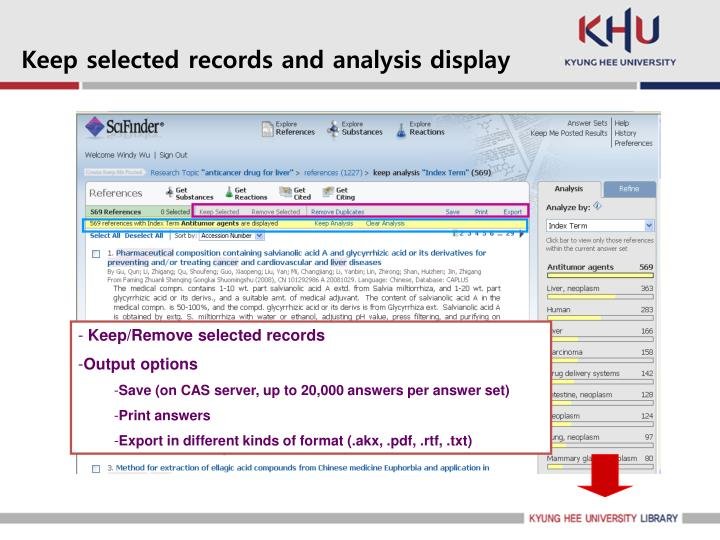 Keep selected records and analysis display