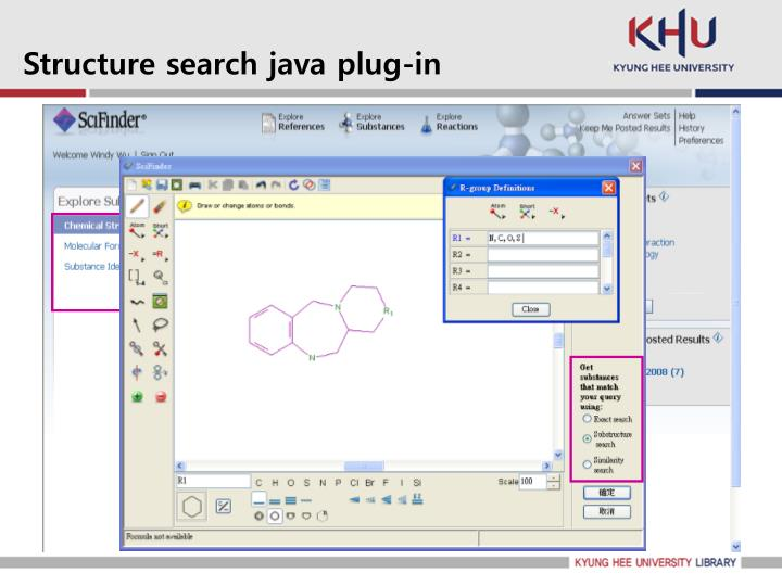 Structure search java plug-in