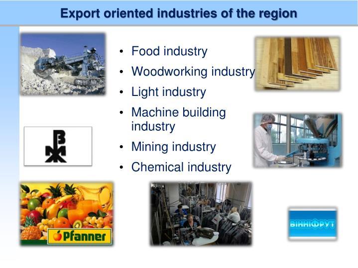 Export oriented industries of the region