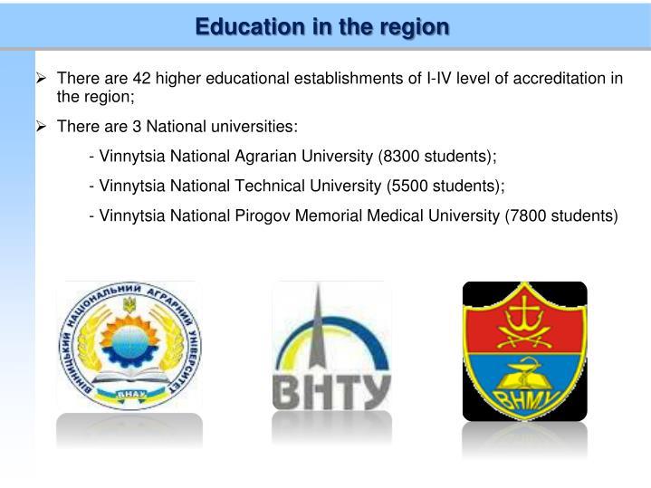 Education in the region
