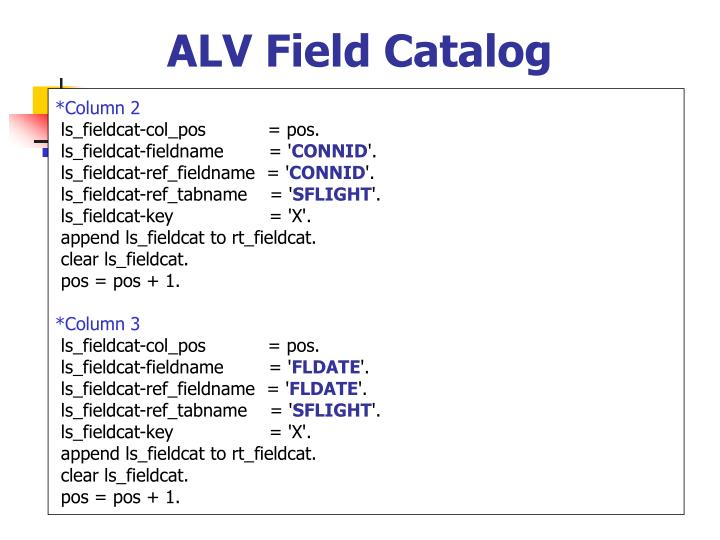 ALV Field Catalog