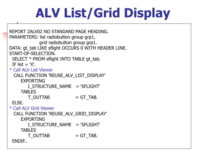 ALV List/Grid Display