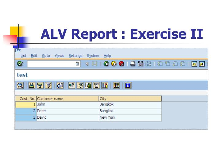 ALV Report : Exercise II