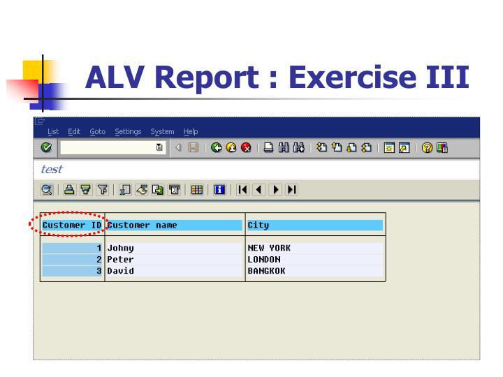 ALV Report : Exercise III