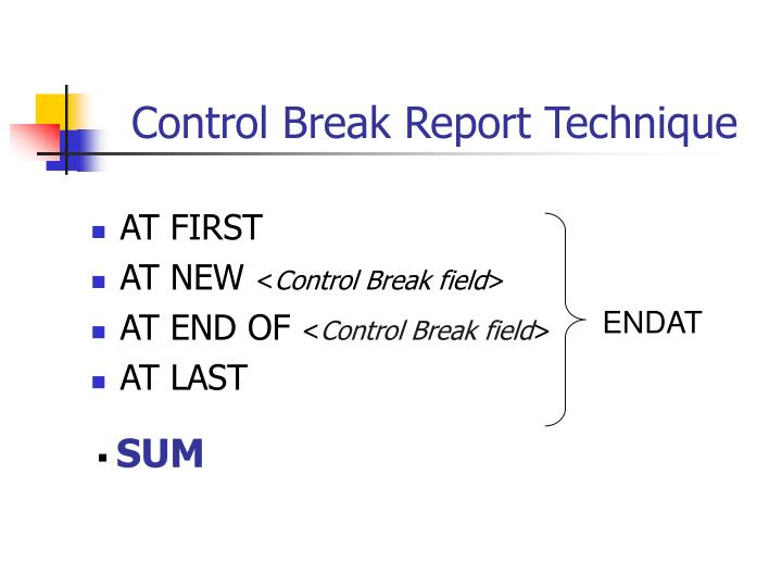 Control Break Report Technique