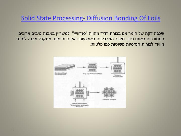 Solid State Processing- Diffusion Bonding Of Foils