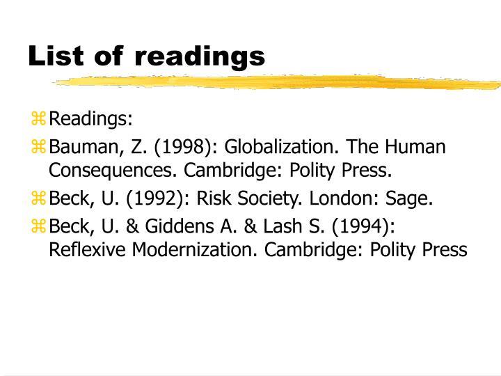 List of readings