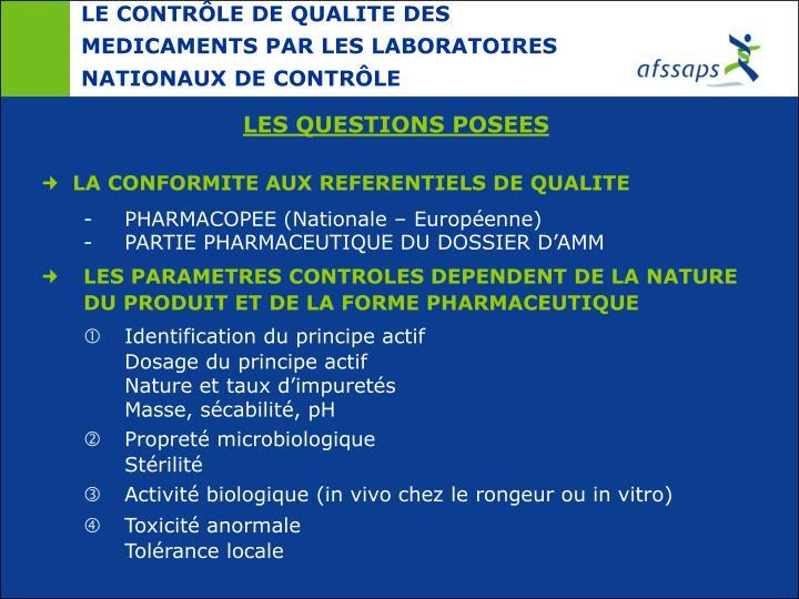 LE CONTRÔLE DE QUALITE DES MEDICAMENTS PAR LES LABORATOIRES NATIONAUX DE CONTRÔLE