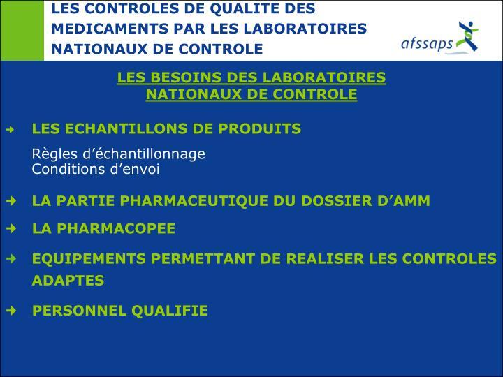 LES CONTROLES DE QUALITE DES MEDICAMENTS PAR LES LABORATOIRES NATIONAUX DE CONTROLE