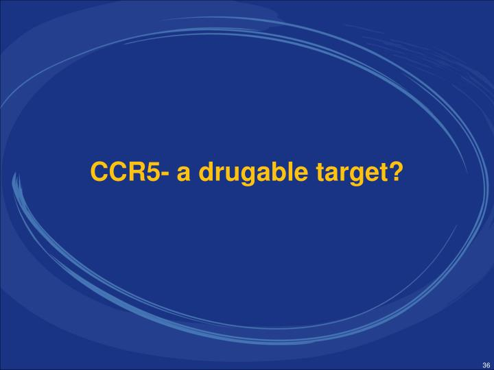 CCR5- a drugable target?