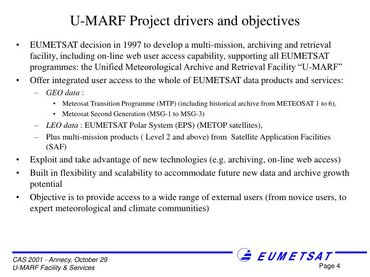U-MARF Project drivers and objectives