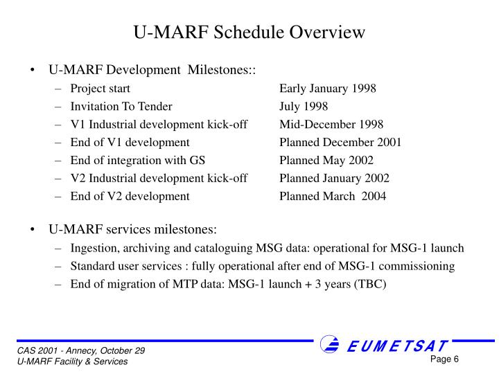 U-MARF Schedule Overview