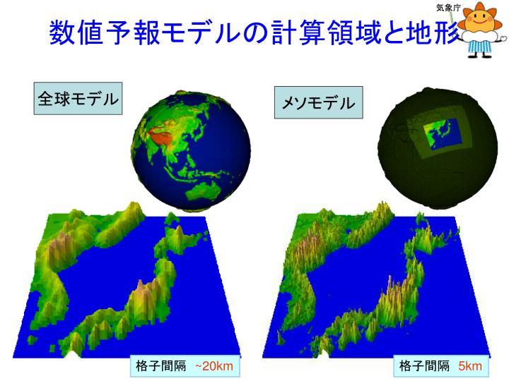 数値予報モデルの計算領域と地形