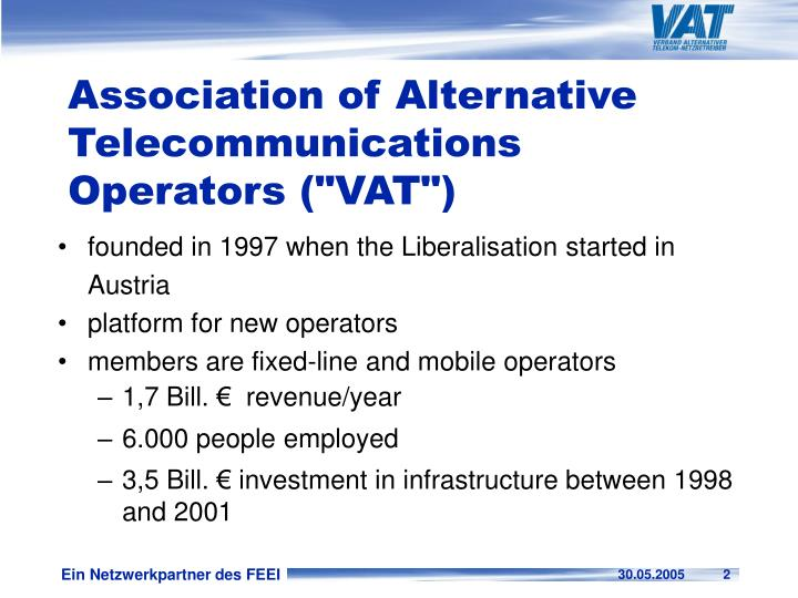 Association of alternative telecommunications operators vat