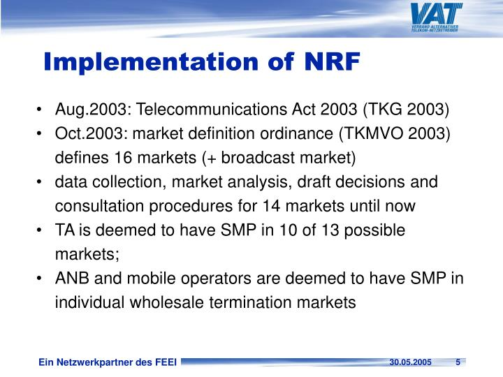 Implementation of NRF