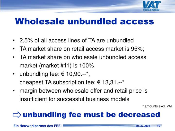 unbundling fee must be decreased