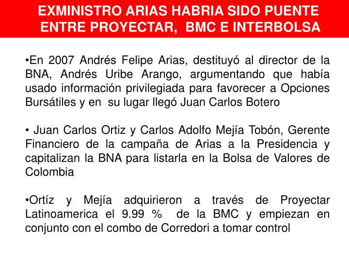 EXMINISTRO ARIAS HABRIA SIDO PUENTE
