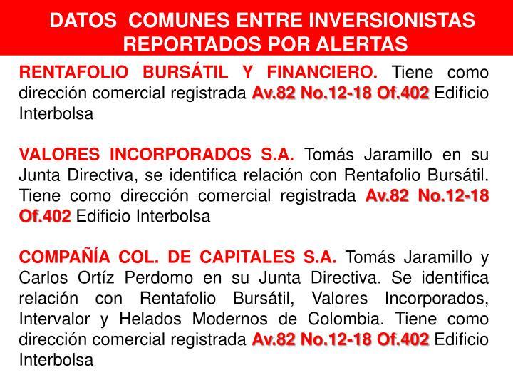 DATOS  COMUNES ENTRE INVERSIONISTAS