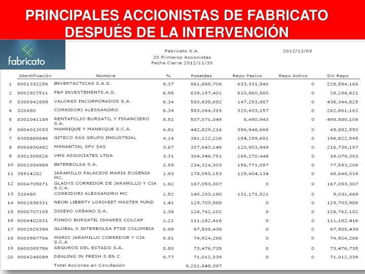 PRINCIPALES ACCIONISTAS DE FABRICATO DESPUÉS DE LA INTERVENCIÓN