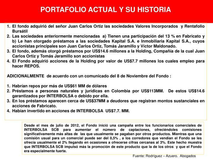 PORTAFOLIO ACTUAL Y SU HISTORIA