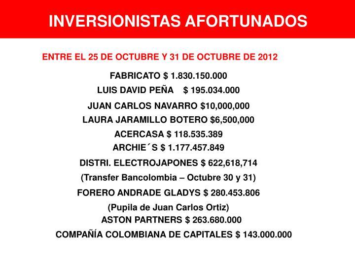 INVERSIONISTAS AFORTUNADOS