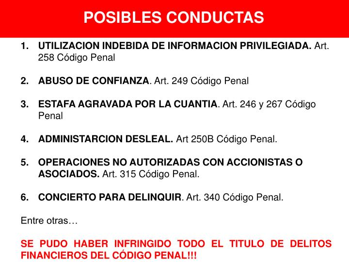 POSIBLES CONDUCTAS